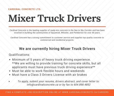Cardinal Concrete - mixer truck driver job posting